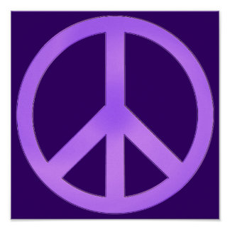 Lavender on Dark Purple Peace Sign