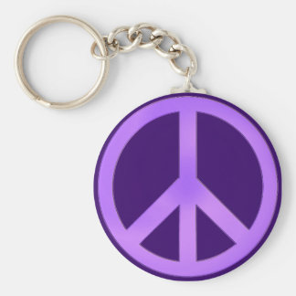 Lavender on Dark Purple Peace Sign Basic Round Button Key Ring