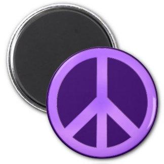 Lavender on Dark Purple Peace Sign Magnet