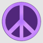 Lavender on Dark Purple Peace Sign Round Stickers