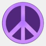 Lavender on Dark Purple Peace Sign Stickers