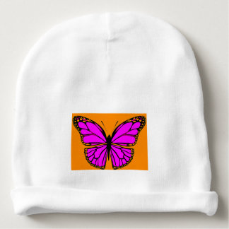 LAVENDER & ORANGE BEAUTIFUL BUTTERFLY BABY BEANIE
