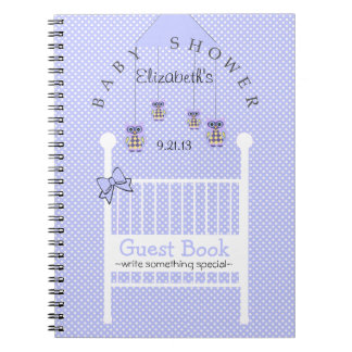 Lavender Owls Baby Shower Guest Book- Notebook