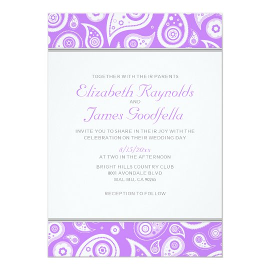 Lavender Paisley Wedding Invitations