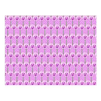 Lavender pansies - retro wallpaper pattern postcard