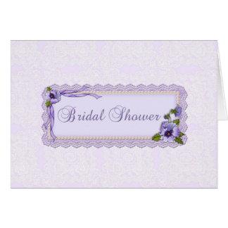 Lavender Pansies Shower Invitation Greeting Cards