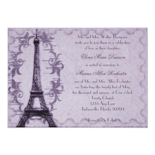 Lavender Paris Grunge Wedding Invitation