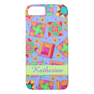 Lavender Patchwork Quilt Art Name PersonalizedShow iPhone 7 Case