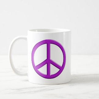 Lavender Peace Sign Basic White Mug