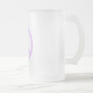 Lavender Peace Sign Frosted Glass Mug