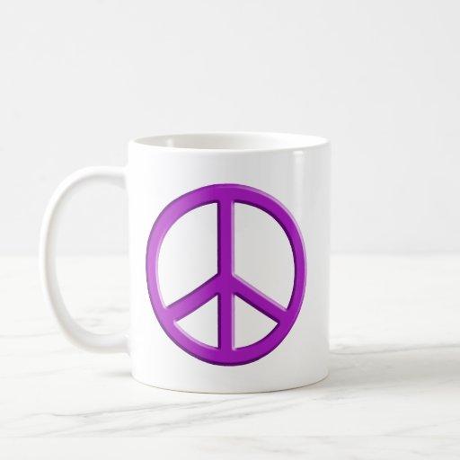 Lavender Peace Sign Coffee Mugs
