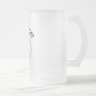 Lavender Peace Word & Ribbon 16 Oz Frosted Glass Beer Mug