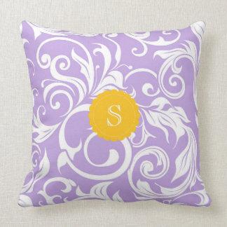 Lavender Peach Floral Wallpaper Swirl Monogram Cushion