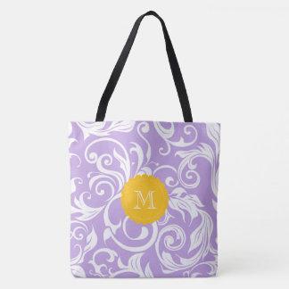 Lavender Peach Floral Wallpaper Swirl Monogram Tote Bag