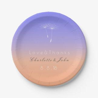 Lavender Peach Pastel Ombre Paper Plate