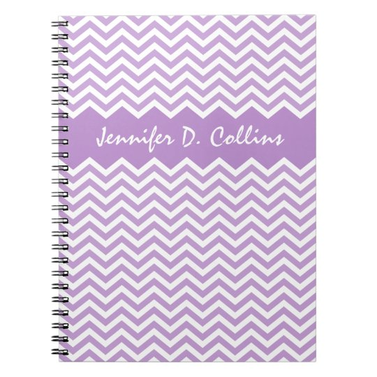 Lavender personalised chevron pattern notepad spiral notebook