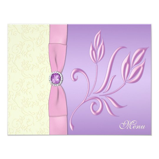 Lavender, Pink, and Ivory Menu Card