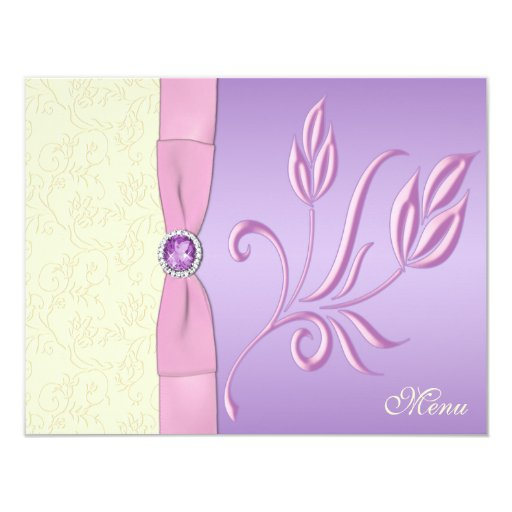 Lavender, Pink, and Ivory Menu Card 11 Cm X 14 Cm Invitation Card