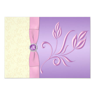 Lavender, Pink and Ivory Wedding Invitation