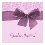 Lavender Pink Bokeh Dots Wedding Custom Announcement