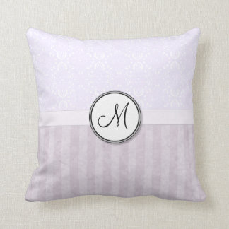 Lavender Pink Damask with Stripes and Monogram Cushion
