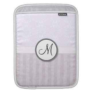 Lavender Pink Damask with Stripes and Monogram iPad Sleeve