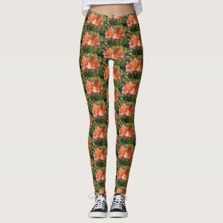 Lavender Pink Double Daylilies Leggings