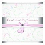 Lavender Pink Heart Pink Cross First Communion Custom Invitations