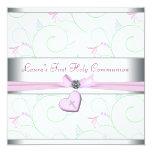 Lavender Pink Heart Pink Cross First Communion Custom Invitations