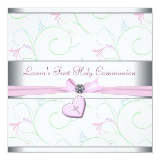 Lavender Pink Heart Pink Cross First Communion 13 Cm X 13 Cm Square Invitation Card