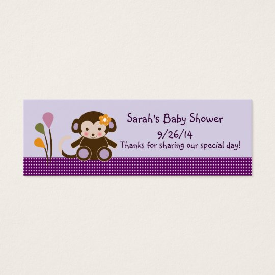 Lavender/Pink Jacana Monkey Girl Favour/Tags Mini Business Card