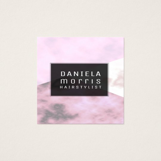 Lavender Pink Marble Geometric Hair Stylist Square Business
