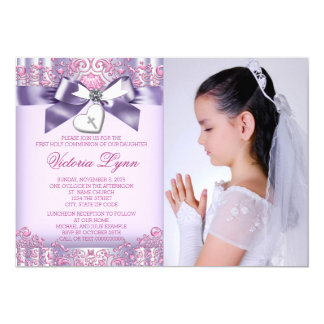 Lavender Pink Photo First Communion Card