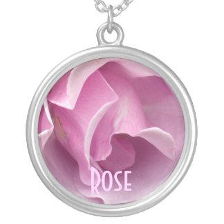 Lavender Pink Rose Round Pendant Necklace