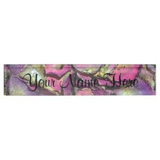 Lavender Pink Rose Petals Watercolor Desk Nameplate