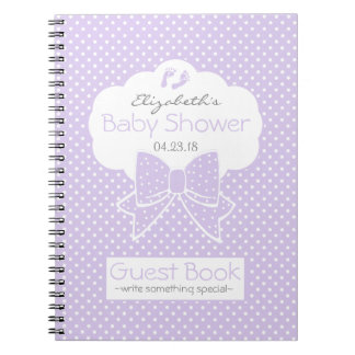 Lavender Polka Dot Baby Shower Guest Book