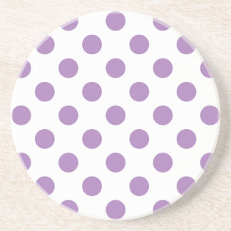 Lavender polka dots on white coaster