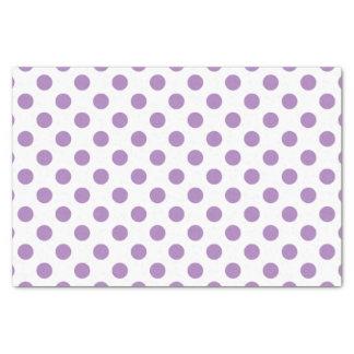 Lavender polka dots on white tissue paper