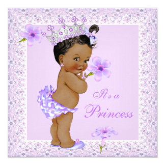Lavender Princess Baby Shower African American 13 Cm X 13 Cm Square Invitation Card