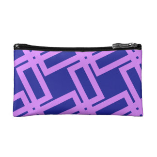 Lavender Purple and Blue Geometric Pattern Makeup Bag