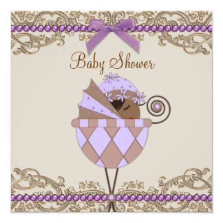 """Lavender Purple and Brown Baby Shower 5.25"""" Square Invitation Card"""