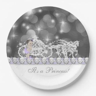 Lavender Purple and Gray Princess Baby Shower Paper Plate
