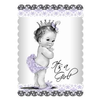 """Lavender Purple and Gray Vintage Baby Girl Shower 5"""" X 7"""" Invitation Card"""