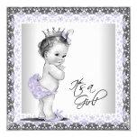 Lavender Purple and Grey Vintage Baby Girl Shower Custom Invitation