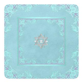 Lavender Purple and Teal Blue Bat Mitzvah 13 Cm X 13 Cm Square Invitation Card