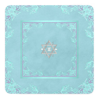 Lavender Purple and Teal Blue Bat Mitzvah Card