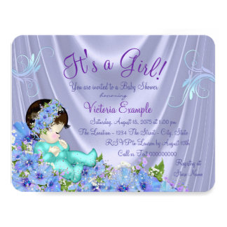 Lavender Purple and Teal Blue Floral Baby Shower 11 Cm X 14 Cm Invitation Card