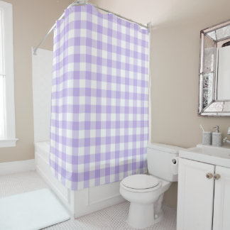 Lavender Purple and White Buffalo Check Shower Curtain