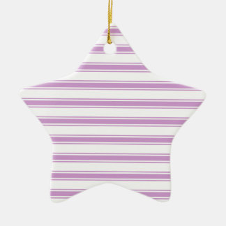 Lavender Purple and White Stripes; Striped Double-Sided Star Ceramic Christmas Ornament