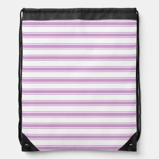 Lavender Purple and White Stripes; Striped Drawstring Backpacks